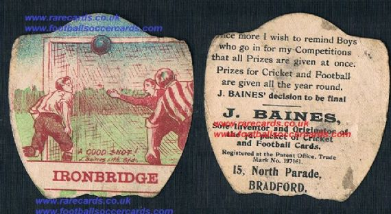 1900s Baines card Wolves interest Ironbridge rip poor